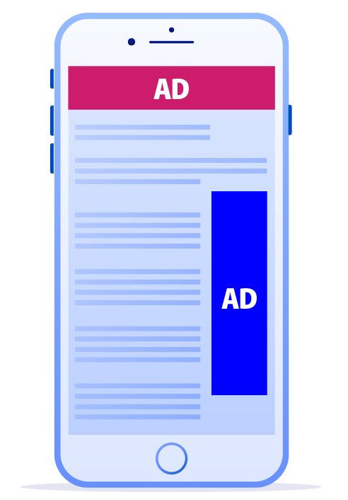phone with ads
